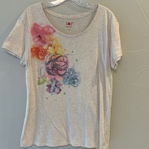 Gap Red Oatmeal T-Shirt with Pastel design, Size L